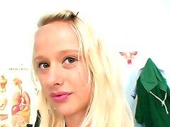 Super sexy blond nurse pulling her weird pussy lips
