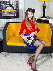 Showcasing some fabulous reinforced heel and toe nylons in jet black, Samantha sports some...