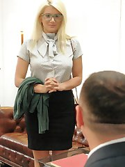 Layla Pryce is a gorgeous, big tit, fuckable blonde bimbo secretary that does anything to keep her job: rough anal sex, double penetration, double face fuck, bondage, nipple clamps and gags.When a naive co-ed takes a summer job as an after hours temporary secretary, she becomes strangely attracted to her thuggish and demanding boss. He keeps her at arms length till the day she breaks his strict dress code and embarrasses him in front of his leering business partner. The two men deliver their own form of office discipline: sexual humiliation, tight gags, bound tits slapped and clamped and hard anal assault by two boss cocks.