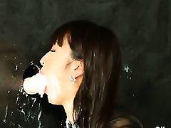 Slime drenched gloryhole wam slut