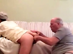 Old daddy eat young ass and finger it