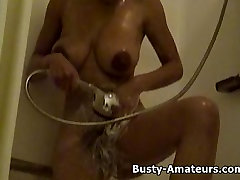 Hot ebony chick Gia on shower