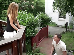 18yr old Skinny German Teen get fucked outdoor by Stranger