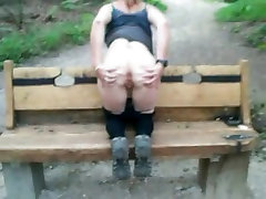 Sexy mature lady flashing outdoors