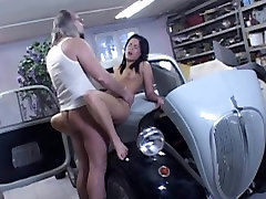 Dirty old perv driver fucks hot brunette on the car hood