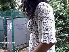 Ebony babe Mels teasing public flashing and outdoor