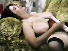 Retro Busty,Hairy Woman Plays With Toy