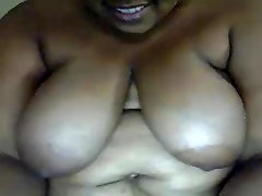 Mature ebony BBW playing
