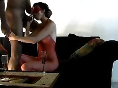 Wife sucking and titty fucking black cock