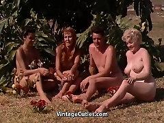 Naked Girls Having Fun at a Nudist Resort 1960s Vintage