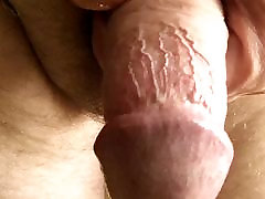 wank with multiple orgasms in closeup