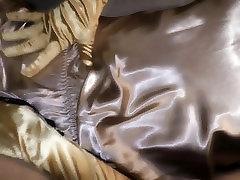 Gold satin teddy, satin gloves masturbation - short version
