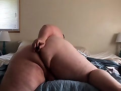 fat white boy playing with his ass