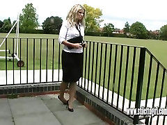 Sexy nylons and high heels this hot leggy blonde has it all