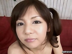 Precious Asian babe rubbing on her wet pussy hard