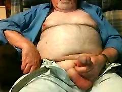 Hairy Grandpa Bear Fondling His Cock