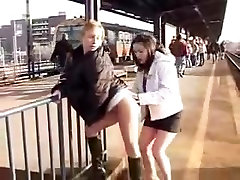 Teen Lesbians In Public Train Station Have Sex