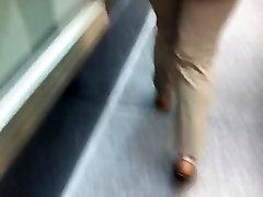 Fine ass big booty chick in tan dress pants 1