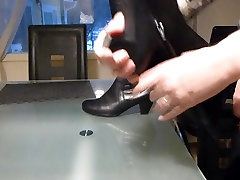 Cum in wifes leather boots