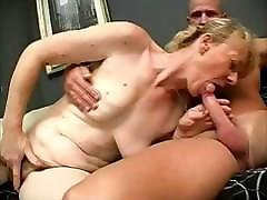 Blonde granny sucks his dick and then gets fucked in both holes