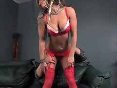 Lapdance from hot tattoo blonde in red lingerie turns into cock sucking!
