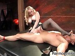 Mistress fucks tied slave