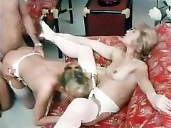 Vintage foreign porn movie with these babes sucking and fucking