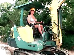 Big Titted Construction Worker shows of her tits and plays with herself