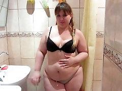 Russian, Beautiful, Fat Girl Peeing In The Shower