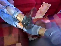 Sexy Ebony Removing Boots Showing Bare Feet - SolefulNikki.com
