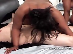 Chanell from 1fuckdate.com - Two black bbws facesit an old whit