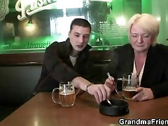 Hot threesome with boozed old granny