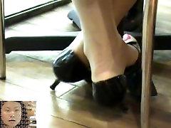 candid asian dangling shoeplay