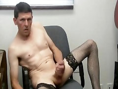 black stockings chair jerkoff with cumshot