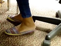 Candid Ebony Feet in Library