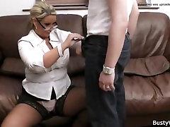 Big tits in uniform riding him at work