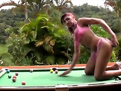 Tanned shemale squirts cum on pool ball jerks off big dick and cum