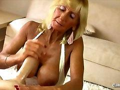 Blond Mature handjob and titfuck