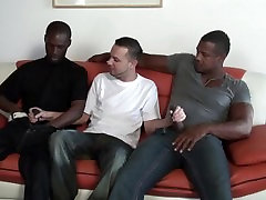Latino dude takes on two big black dicks at once