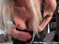 Next door granny Claire strips off and plays with her pantyhosed pussy