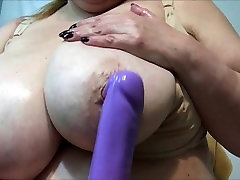 Mature lady with really big tits - close up.