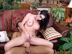 Dava Foxx seduces Chad White and rides his cock hard til completion