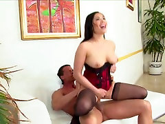 Asian beauty London Keyes in lingerie fucks businessman