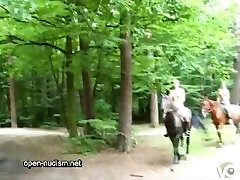nudist teen ride horse