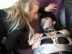Girl tied up and duct taped by one man and one girl