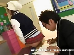 Bully sexy japanese schoolgirl teasing classmate for sex in short skirt