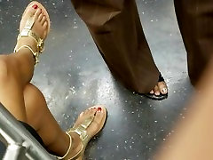 Candid ebony feet with red toes pt2