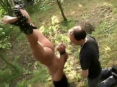 Hurt and humiliated slave endures outdoor brutal fuck