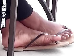 Candid Ebony Feet outside of Starbucks