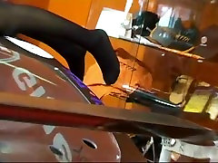 Sexy hostess teases with her sexy legs & feet in nylons on car show